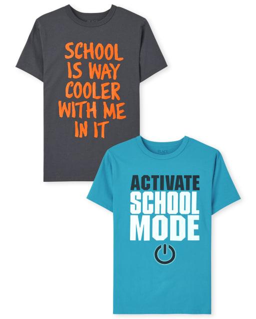 Pack de 2 camisetas con gráfico escolar para niños