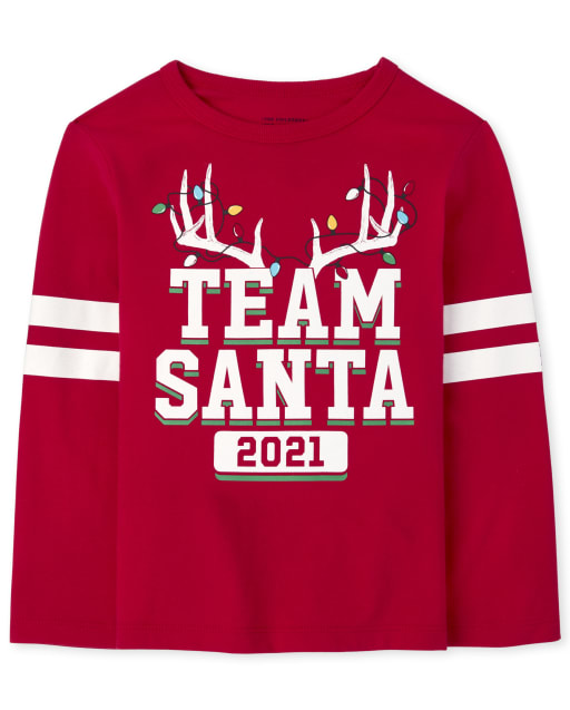 Unisex Baby And Toddler Matching Family Long Sleeve Christmas Team Santa Graphic Tee