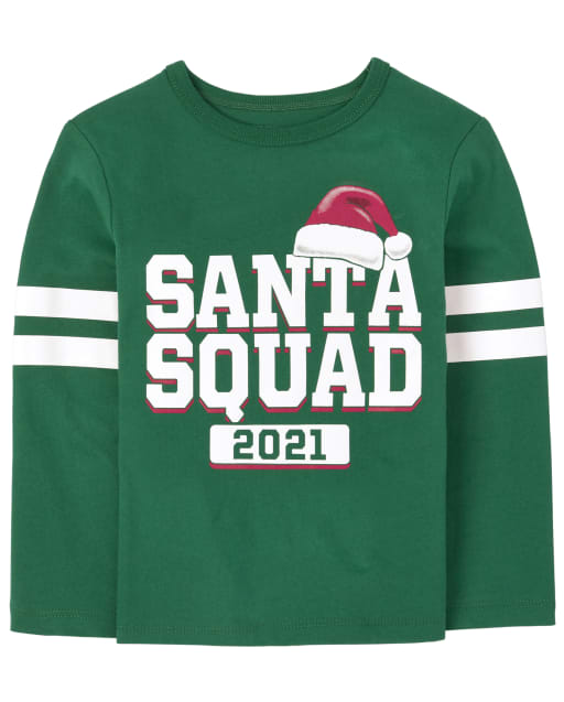 Unisex Baby And Toddler Matching Family Long Sleeve Christmas Santa Squad Graphic Tee