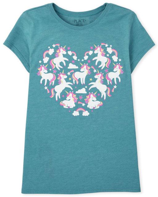 Camiseta con estampado de corazón de unicornio de manga corta para niñas