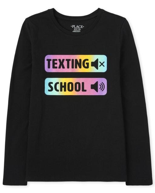 Girls Long Sleeve 'Texting School' Graphic Tee