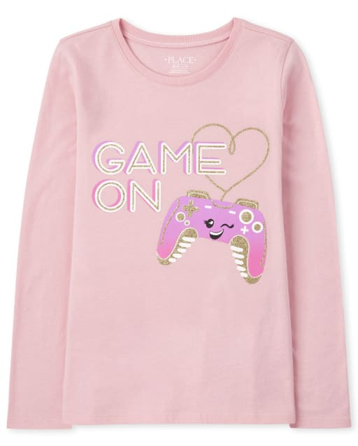 Girls Long Sleeve 'Game On' Video Game Graphic Tee