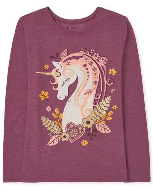 Camiseta con estampado de unicornio de manga larga para niñas