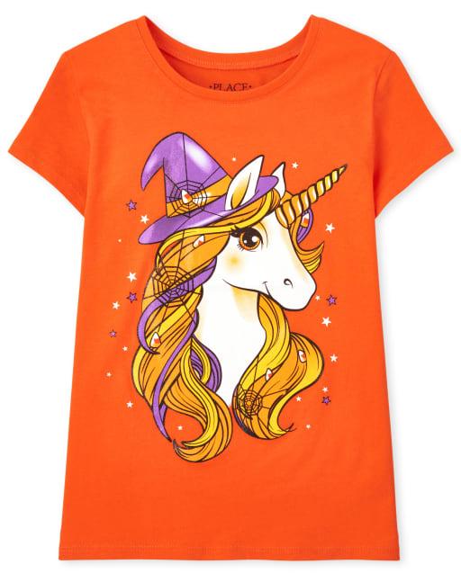 Girls Short Sleeve Halloween Unicorn Witch Hat Graphic Tee