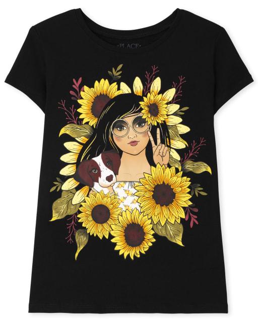 Camiseta con estampado de girasol de manga corta para niñas