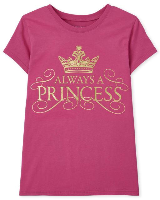 Girls Short Sleeve Always A Princess Graphic Tee