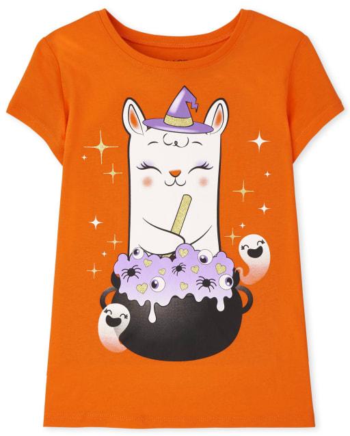 Girls Short Sleeve Halloween Llama Graphic Tee