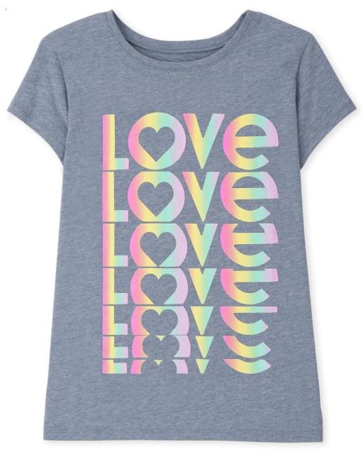 Camiseta estampada Love de manga corta para niñas
