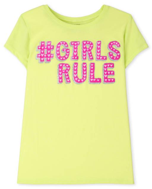Girls Short Sleeve Hashtag Girls Rule Graphic Tee