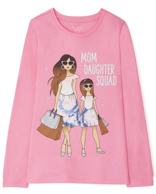 Girls Long Sleeve 'Mom Daughter Squad' Graphic Tee