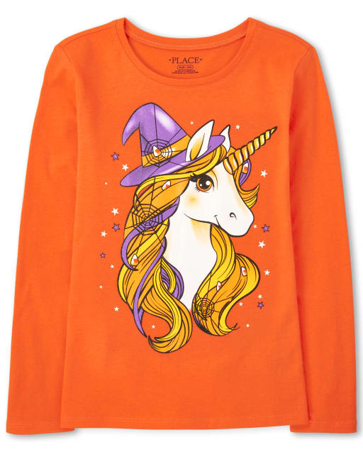 Girls Long Sleeve Halloween Unicorn Witch Hat Graphic Tee