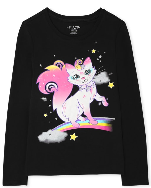 Girls Long Sleeve Rainbow Cat Graphic Tee