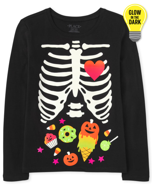 Girls Mommy And Me Long Sleeve Glow In The Dark Halloween Candy Skeleton Matching Graphic Tee