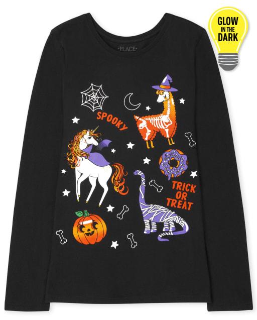 Girls Long Sleeve Glow In The Dark Halloween Animals Graphic Tee