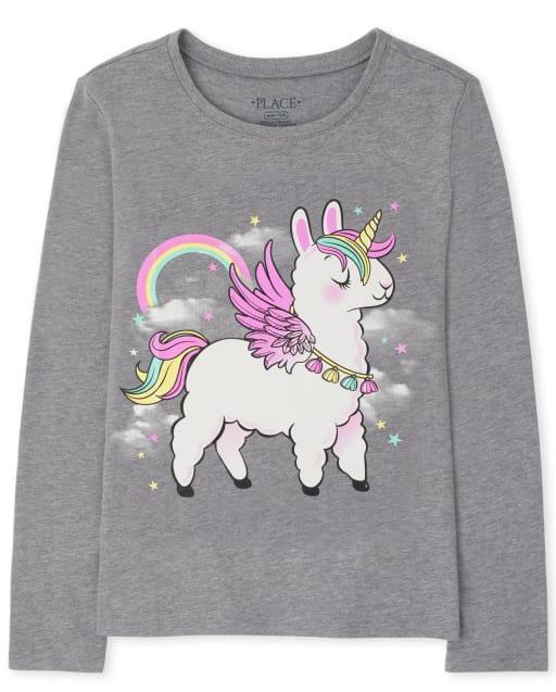 Girls Long Sleeve Llama Rainbow Graphic Tee