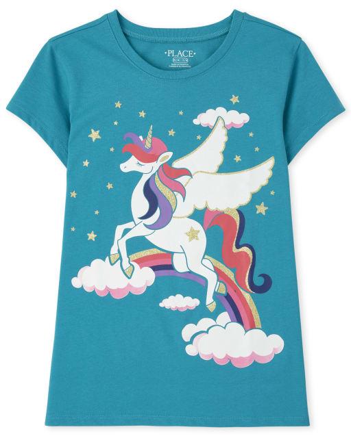 Girls Short Sleeve Unicorn Clouds Graphic Tee