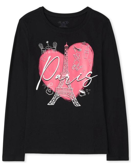 Girls Long Sleeve Paris Graphic Tee
