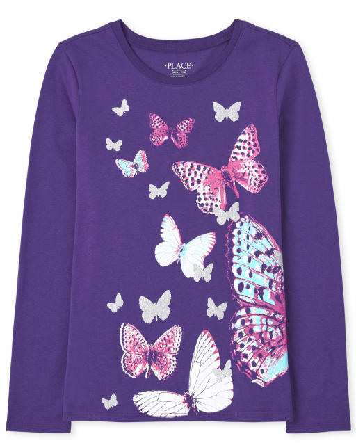 Girls Long Sleeve Butterfly Graphic Tee