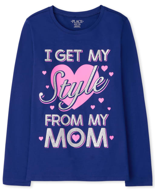 Girls Long Sleeve Style From Mom Graphic Tee