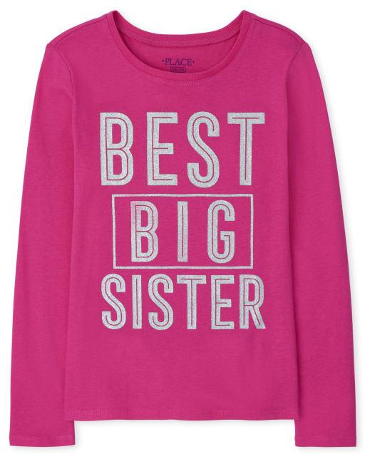 Girls Long Sleeve Best Big Sister Graphic Tee