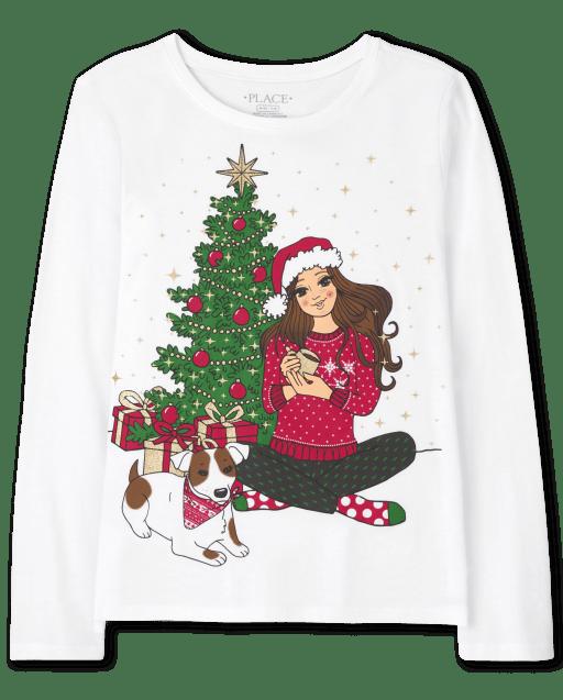 Girls Long Sleeve Christmas Girl Tree Graphic Tee