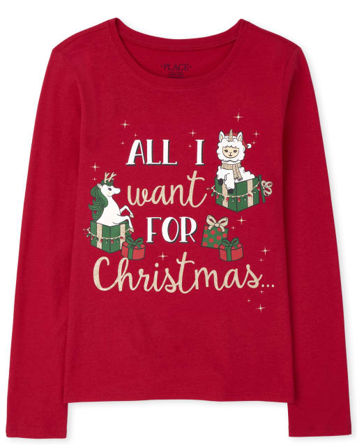 Girls Long Sleeve All I Want For Christmas Graphic Tee