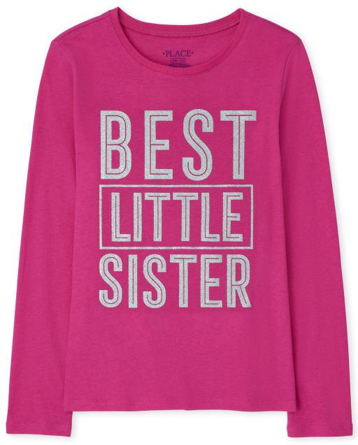 Girls Long Sleeve Best Little Sister Graphic Tee