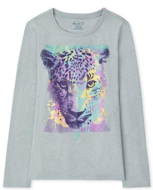 Girls Long Sleeve Tiger Graphic Tee