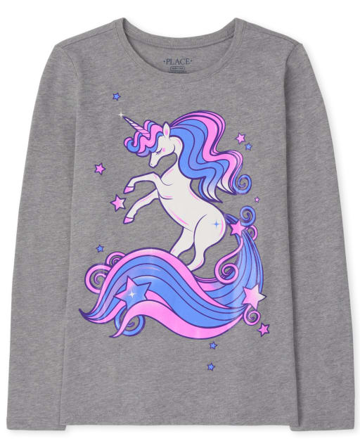 Girls Long Sleeve Unicorn Graphic Tee