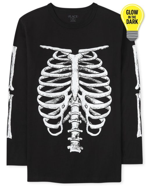 Mens Dad And Me Long Sleeve Glow In The Dark Halloween Skeleton Graphic Tee