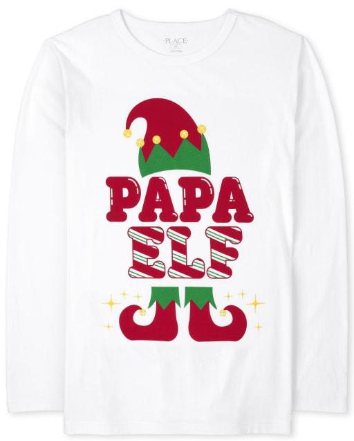 Mens Matching Family Long Sleeve Christmas Papa Elf Graphic Tee