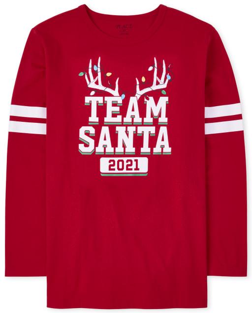 Unisex Adult Matching Family Long Sleeve Christmas Team Santa Graphic Tee