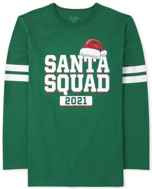 Unisex Adult Matching Family Long Sleeve Christmas Santa Squad Graphic Tee