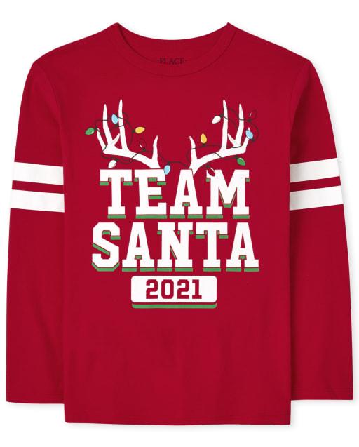 Unisex Kids Matching Family Long Sleeve Christmas Team Santa Graphic Tee