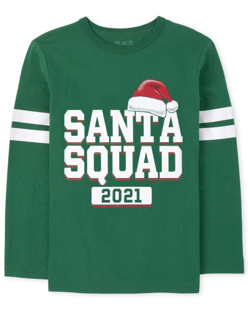 Unisex Kids Matching Family Long Sleeve Christmas Santa Squad Graphic Tee