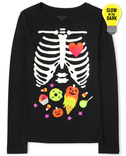 Womens Mommy And Me Long Sleeve Glow In The Dark Halloween Candy Skeleton Matching Graphic Tee