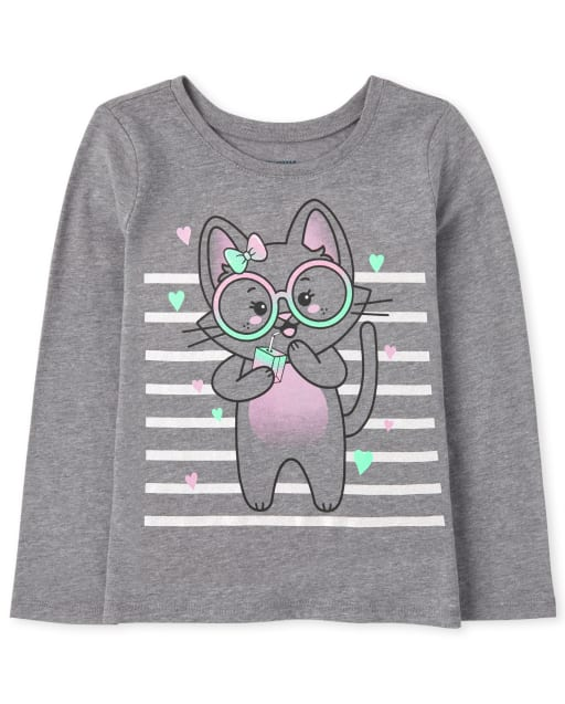 Baby And Toddler Girls Long Sleeve Cat Graphic Tee