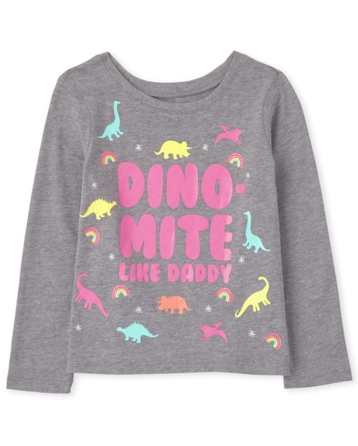 Baby And Toddler Girls Long Sleeve 'Dino-Mite Like Daddy' Graphic Tee