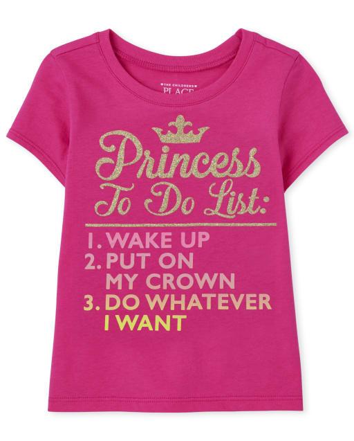 Camiseta estampada con estampado de princesa de manga corta para bebés y niñas pequeñas