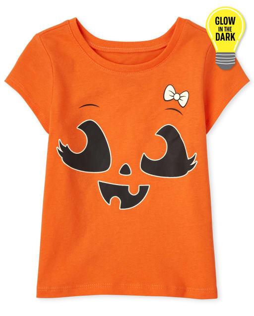 Baby and Toddler Girls Short Sleeve Glow In The Dark Halloween Pumpkin Bow Graphic Tee