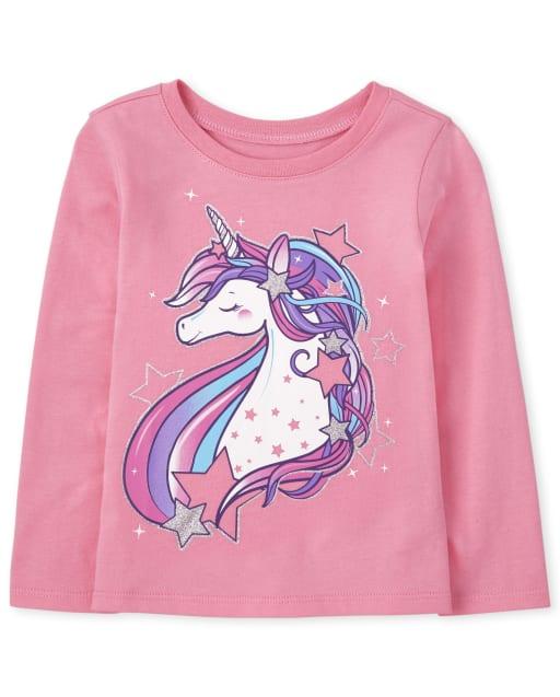 Baby And Toddler Girls Long Sleeve Unicorn Stars Graphic Tee