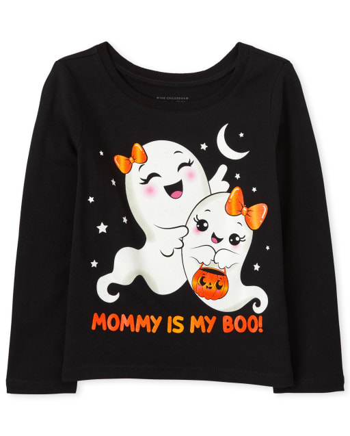 Baby and Toddler Girls Short Sleeve Halloween Ghosts Graphic Tee