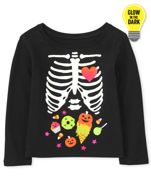 Baby and Toddler Girls Mommy And Me Long Sleeve Glow In The Dark Halloween Candy Skeleton Matching Graphic Tee