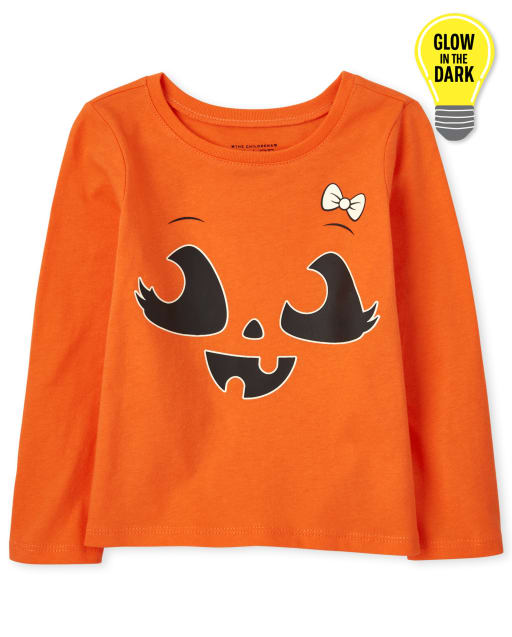 Baby and Toddler Girls Long Sleeve Glow In The Dark Halloween Pumpkin Bow Graphic Tee