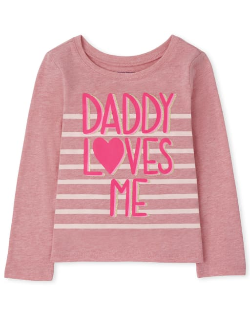 Baby and Toddler Girls Long Sleeve Daddy Loves Me Graphic Tee