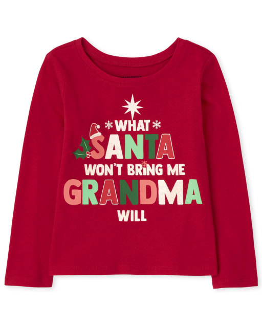Baby and Toddler Girls Long Sleeve Christmas Santa Grandma Graphic Tee