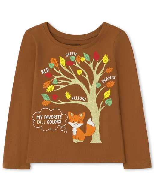 Baby and Toddler Girls Long Sleeve Fall Colors Graphic Tee