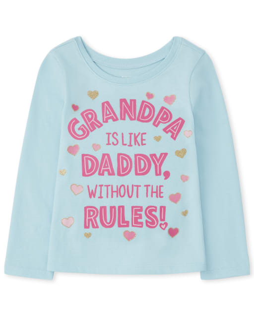 Baby and Toddler Girls Long Sleeve Grandpa Graphic Tee