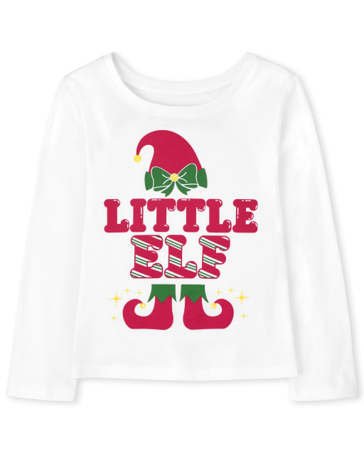 Baby and Toddler Girls Matching Family Long Sleeve Christmas Little Elf Graphic Tee