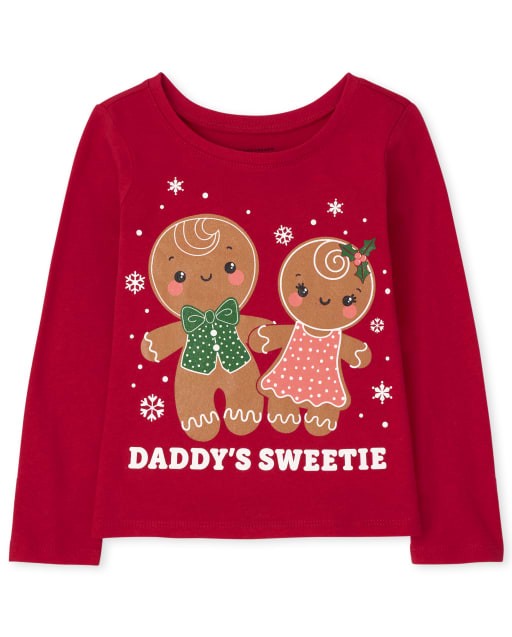 Baby and Toddler Girls Long Sleeve Christmas Gingerbread Graphic Tee